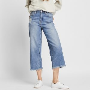 Uniqlo Women's High Rise Wide Cropped Jeans